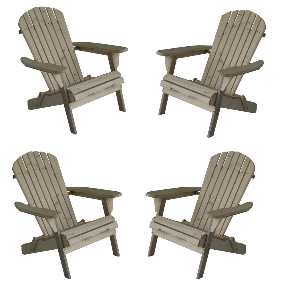 Classic Natural Folding Wood Oceanic Adirondack Chair (4-Pack)