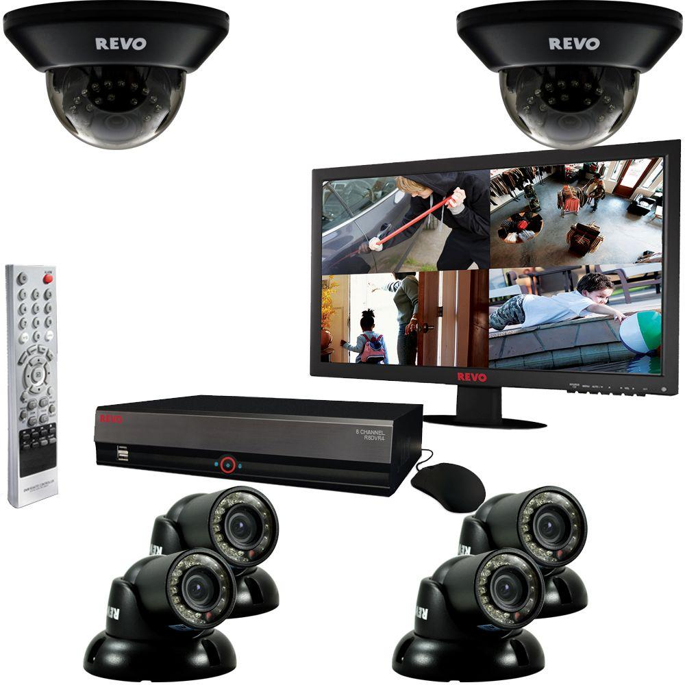 Revo 8-Channel 2TB DVR Surveillance System with (6) 700TVL 100 ft. Night Vision Cameras and 21.5 in. Monitor