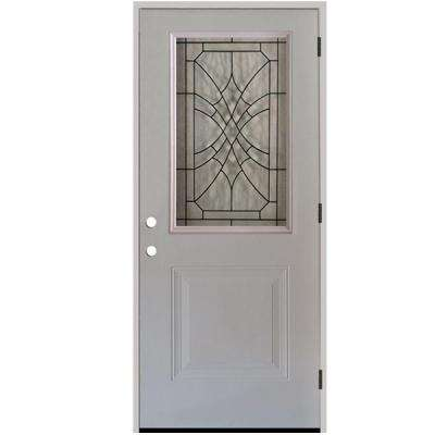 36 in. x 80 in. Webville 1/2 Lite Unfinished White Steel Prehung Front Door