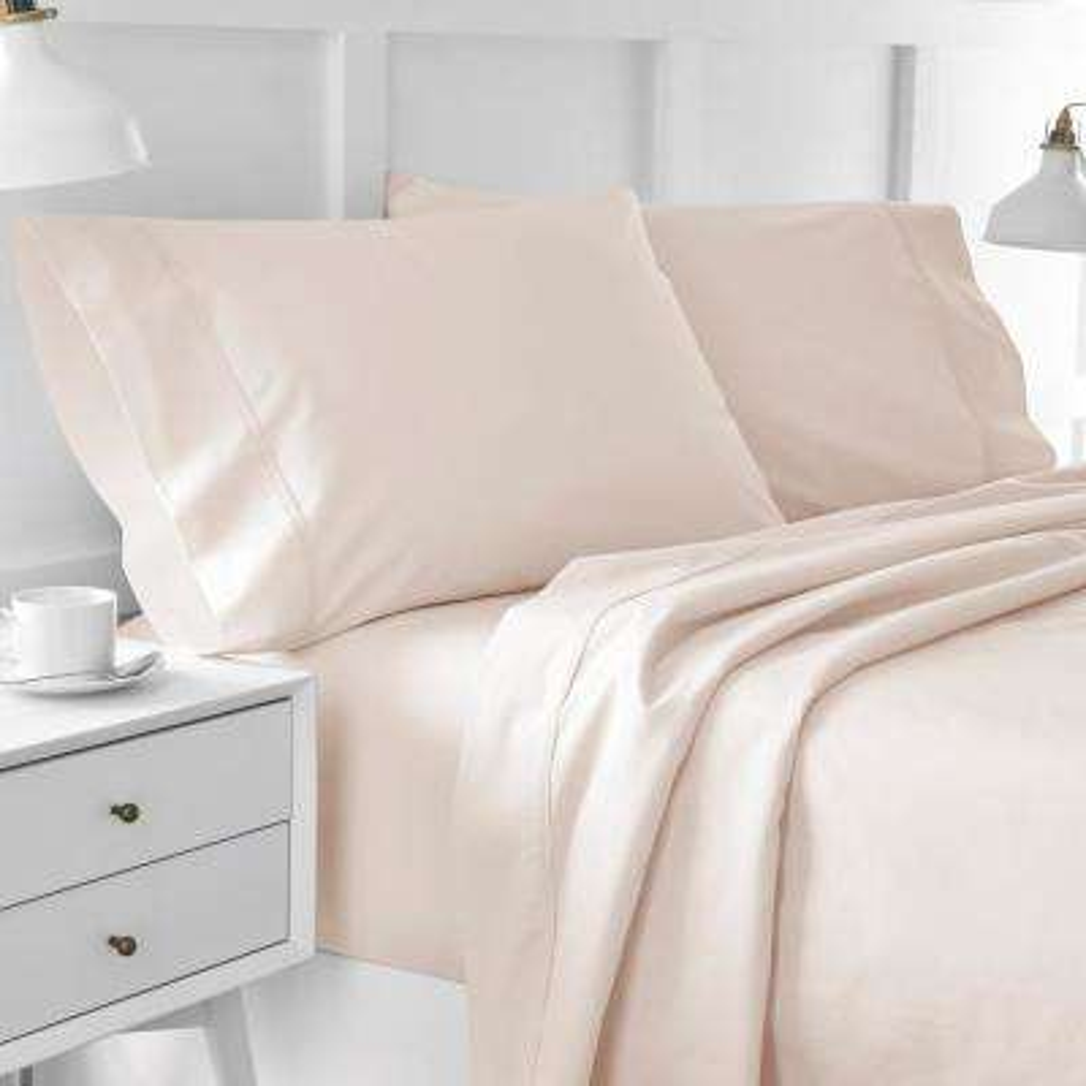 Urban Edgelands T200 3-Piece Blush Pink Organic CottonTwin Sheet Set