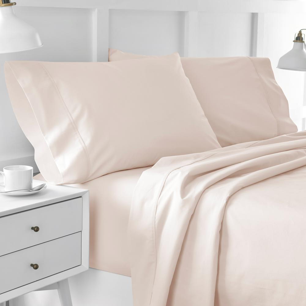 Urban Edgelands T200 4-Piece Blush Pink Organic Cotton Full Sheet Set