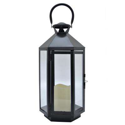7.75 in. x 7.75 in. Black Metal Lantern with LED