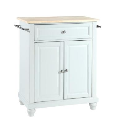 Cambridge White Portable Kitchen Island with Wood Top