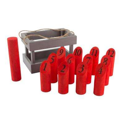 Wooden Red/Gray Molkky Throwing Game