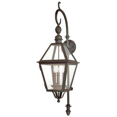 Townsend 3-Light Natural Bronze Outdoor Wall Mount Lantern