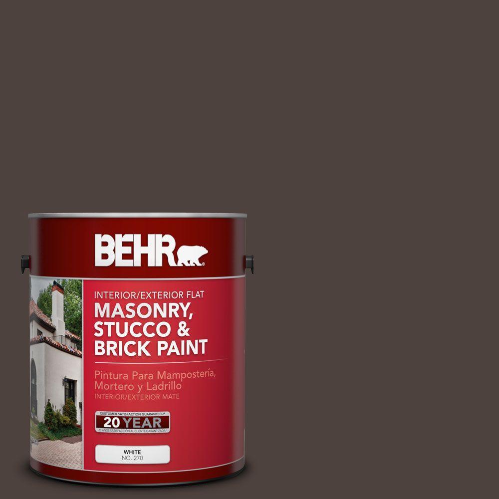 1 gal. #MS-90 Deep Chocolate Flat Interior/Exterior Masonry, Stucco and Brick Paint
