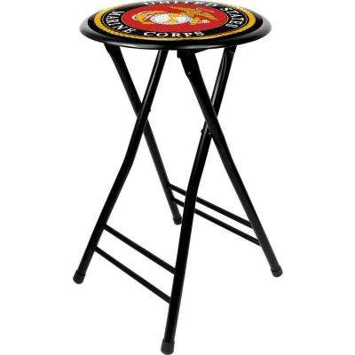 United States Marine Corps 24 in. Black Cushioned Folding Bar Stool