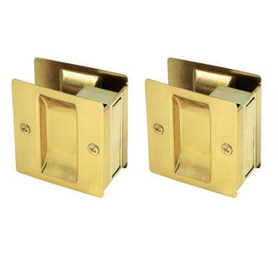 Polished Brass Pocket Door Passage Hardware (2 per Pack)