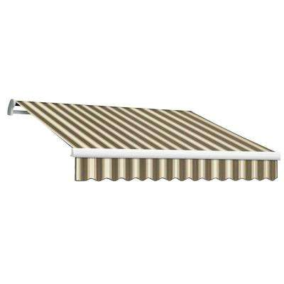 24 ft. MAUI EX Model Left Motor Retractable Awning (120 in. Projection) in Brown and Tan Multi Stripe