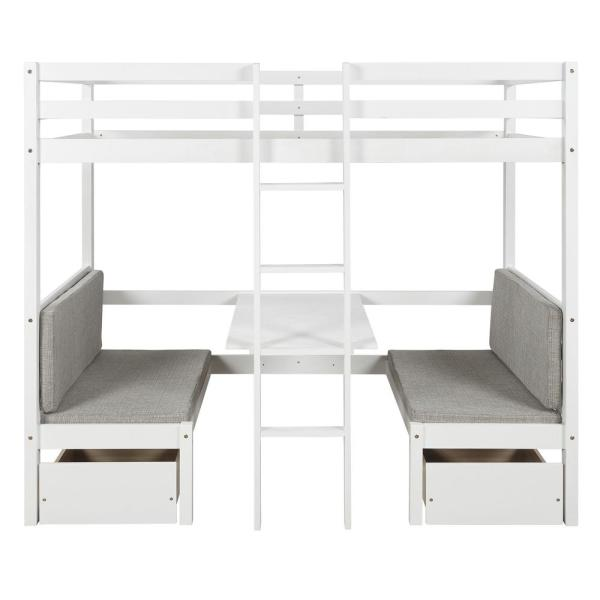 Harper Bright Designs White Multifunctional Bunk Bed With Desk