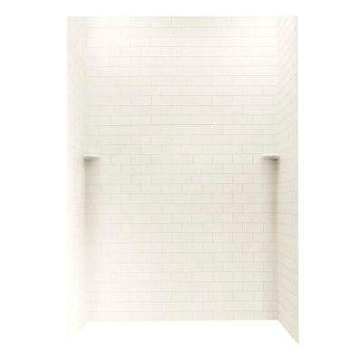 Subway Tile 36 in. x 62 in. x 96 in. 3-Piece Easy Up Adhesive Alcove Shower Surround in Tahiti Ivory