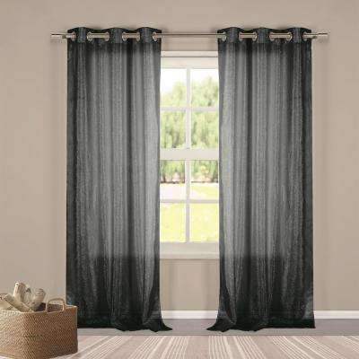 Metallico 40 in. W x 84 in. L Polyester Window Panel in Black