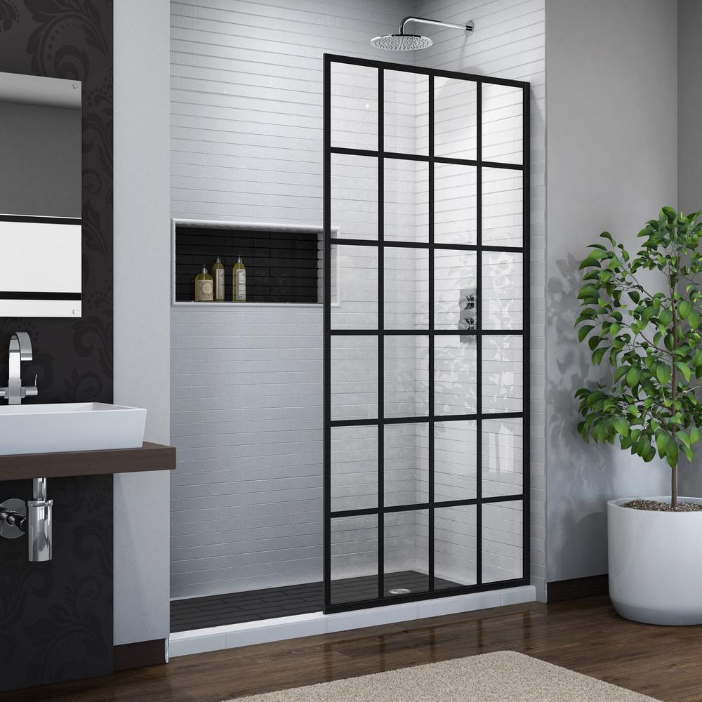 French Linea Toulon 34 In X 72 Frameless Fixed Shower Door Satin Black