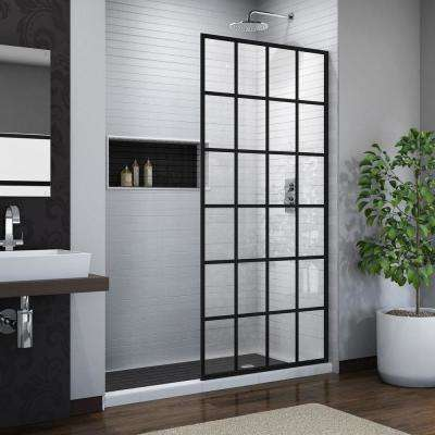French Linea Toulon 34 in. x 72 in. Frameless Fixed Shower Door in Satin Black, Shower Screen