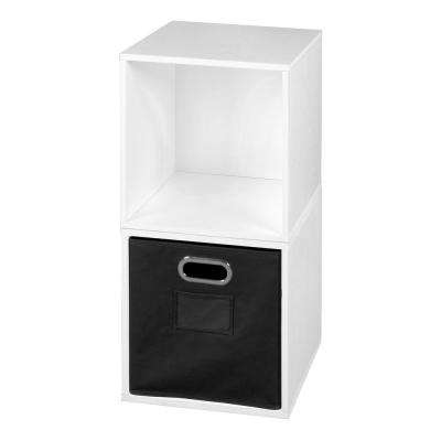 Cubo 26 in. W x 39 in. H White Wood Grain/Black 2-Cube and 1-Bin Organizer