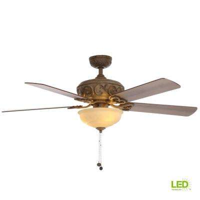 Palisades 52 in. LED Indoor Tuscan Bisque Ceiling Fan with Light Kit