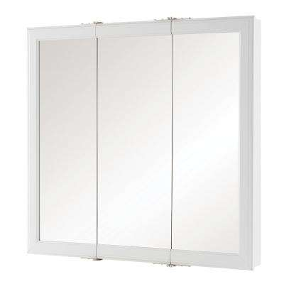 30 in. W x 29 in. H Fog Free Framed Surface-Mount Tri-View Bathroom Medicine Cabinet in White