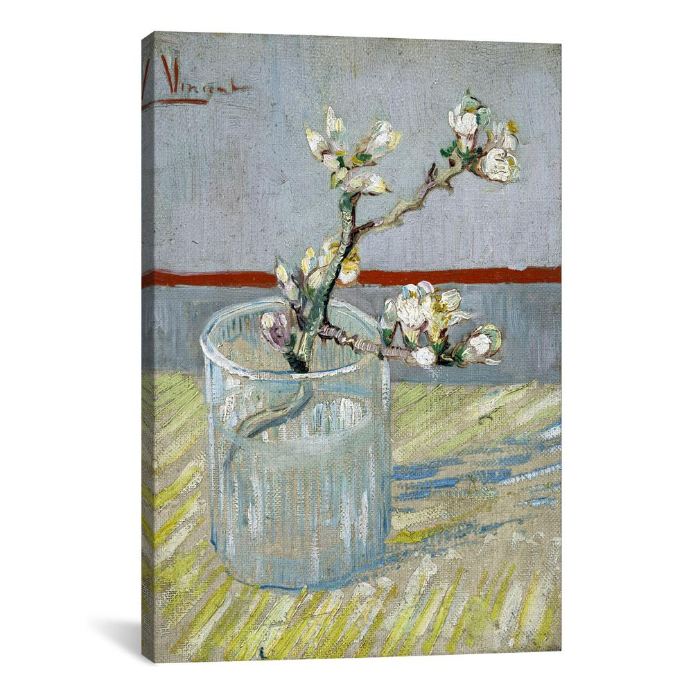 Icanvas Sprint Of Flowering Almond Blossom In A Glass By Vincent