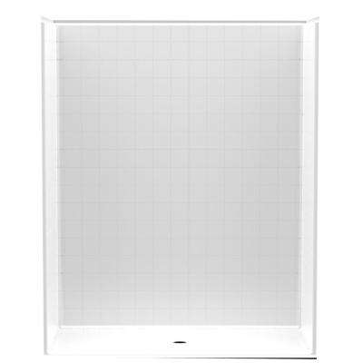Accessible Smooth Tile AcrylX 60 in. x 34 in. x 74 7/8 in. 1-Piece Shower Stall with Center Drain in White