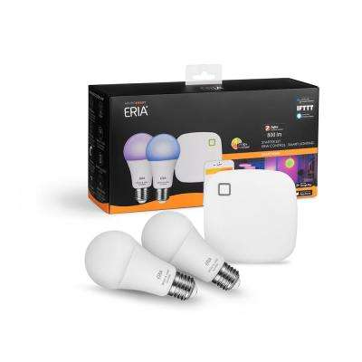 ERIA Colors and White Shades Smart Wireless Lighting Starter Kit A19 LED 60W Equivalent CRI 90+ (2 Bulbs, and Hub)