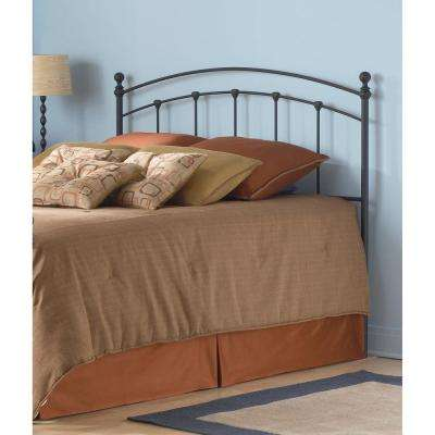 Sanford California King-Size Metal Headboard with Castings and Round Finial Posts in Matte Black