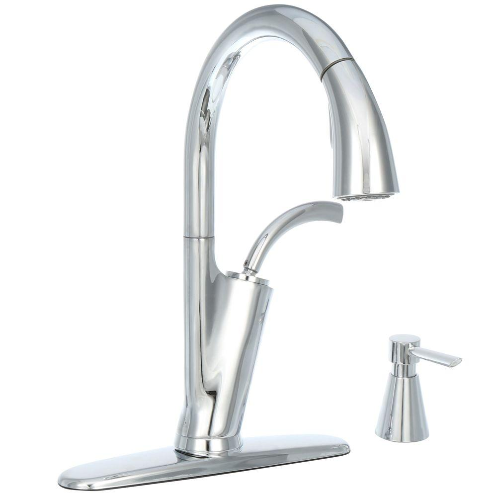 Glacier Bay Heston Single-Handle Pull-Down Sprayer Kitchen Faucet with Soap Dispenser in Chrome