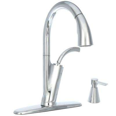 Heston Single-Handle Pull-Down Sprayer Kitchen Faucet with Soap Dispenser in Chrome