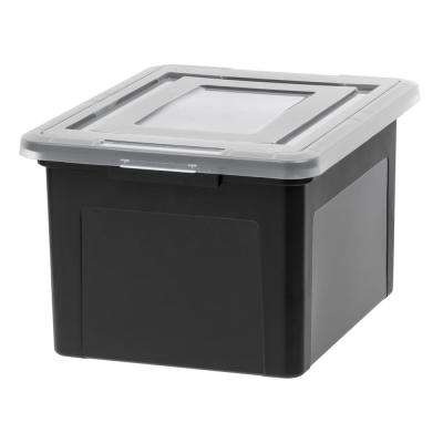 35 Qt. Dual Purpose Letter and Legal-Size File Storage Box in Black