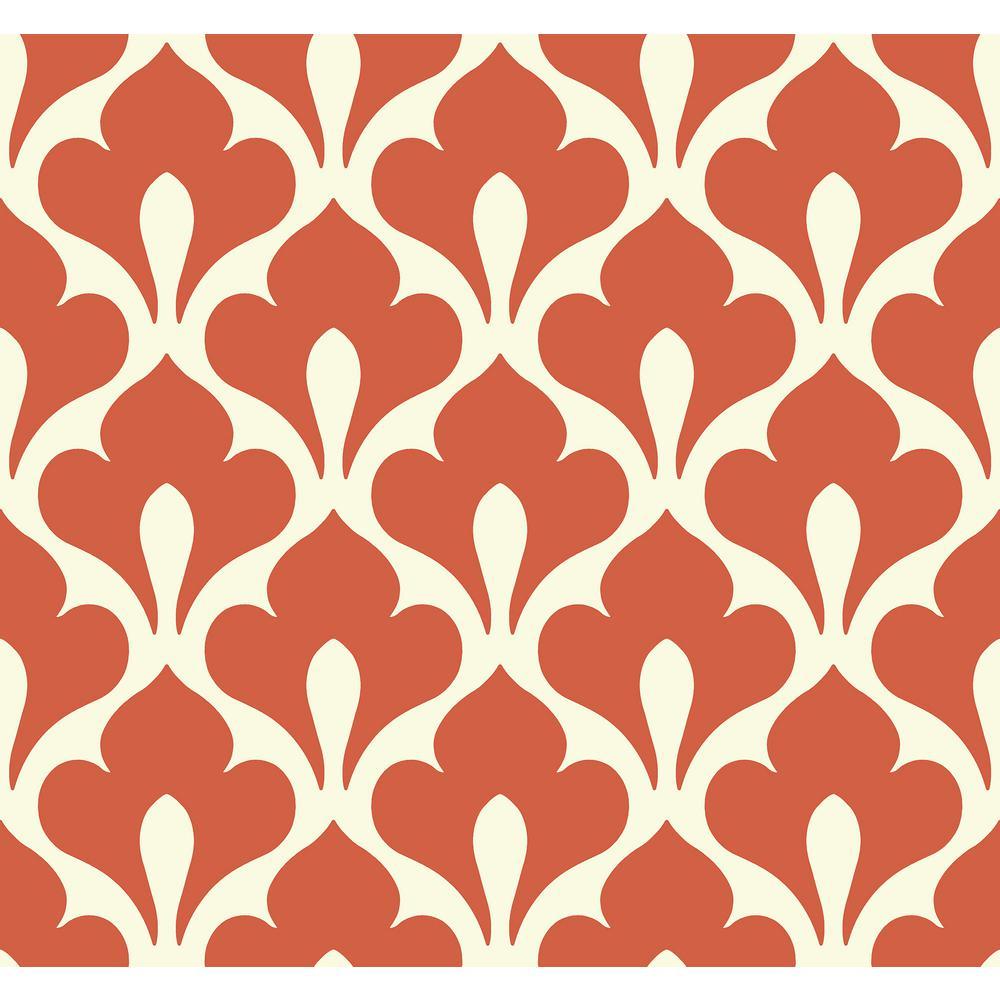 Grenada Portland Orange and Off-White Retro Fleur De Lis Wallpaper