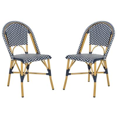 Salcha Navy/White Stackable Aluminum/Wicker Outdoor Dining Chair (2-Pack)