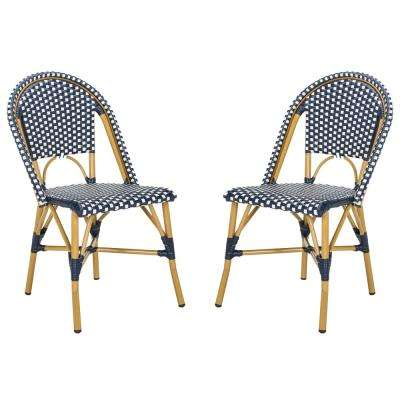 Salcha Stacking Aluminum Outdoor Dining Chair in Navy and White (Set of 2)