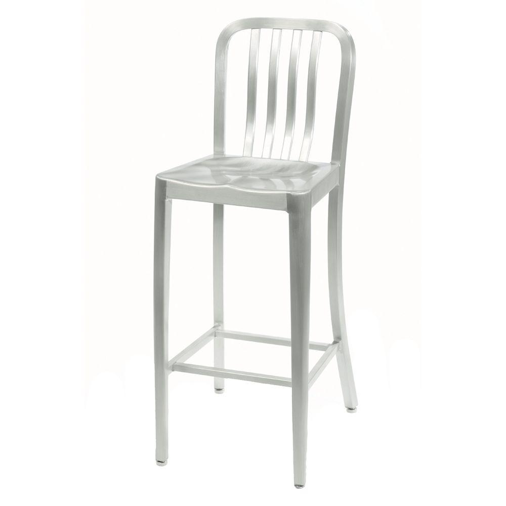 Merveilleux Home Decorators Collection Sandra 30 In. Brushed Aluminum Bar Stool