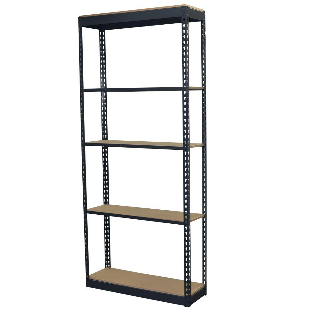 Storage Concepts 96 in. H x 36 in. W x 12 in. D 5-Shelf Steel Boltless Shelving Unit with Low Profile Shelves and Particle Board Decking