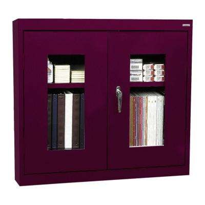 26 in. H x 30 in. W x 12 in. D Clear View Wall Cabinet in Burgundy