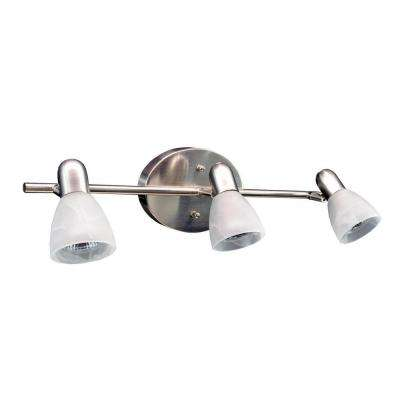 3-Light Brushed Nickel Vanity Light with Alabaster Glass