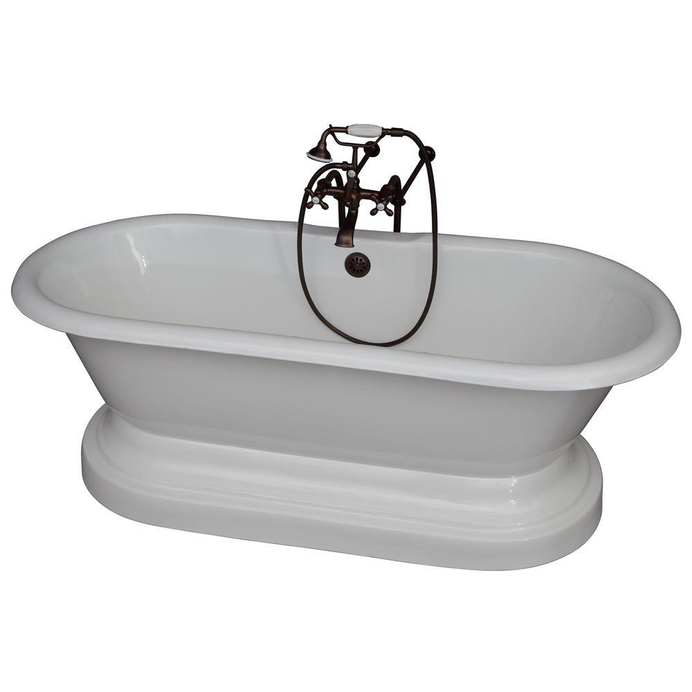 Barclay 5.6 ft. Cast Iron Double Roll Top Tub in White wi...