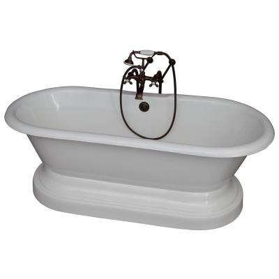 5.6 ft. Cast Iron Double Roll Top Tub in White with Oil Rubbed Bronze Accessories