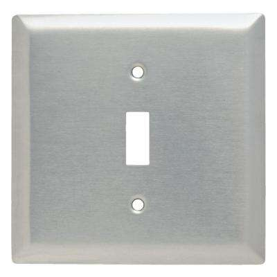 320 Series 2-Gang Single Opening Toggle Wall Plate, Stainless Steel