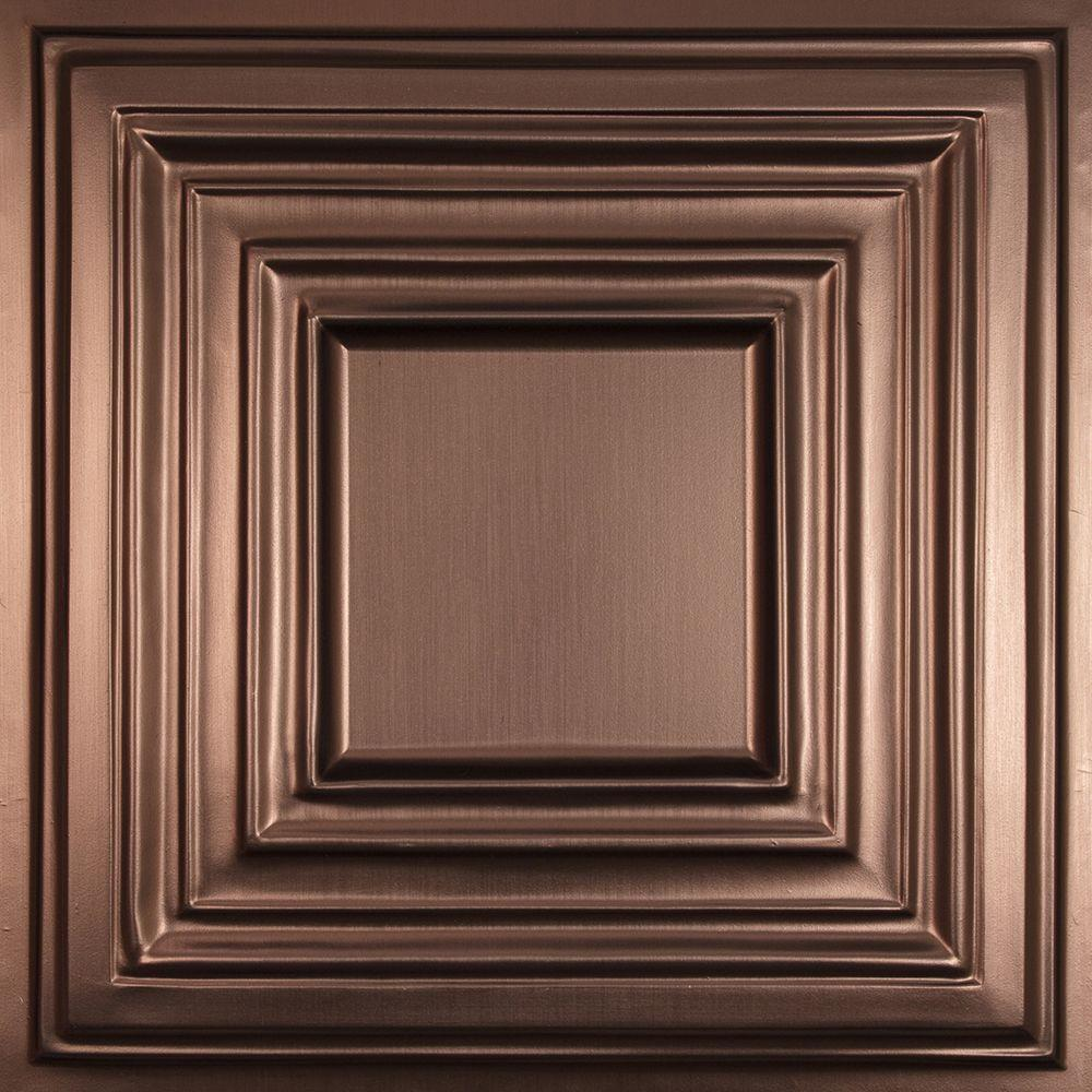 Ceilume Bistro Faux Bronze Evaluation Sample, Not suitable for installation - 2 ft. x 2 ft. Lay-in or Glue-up Ceiling Panel