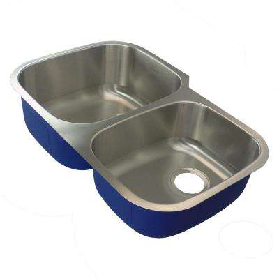 Meridian Undermount Stainless Steel 31.8125 in. 60/40 Double Bowl Kitchen Sink in Brushed Stainless Steel