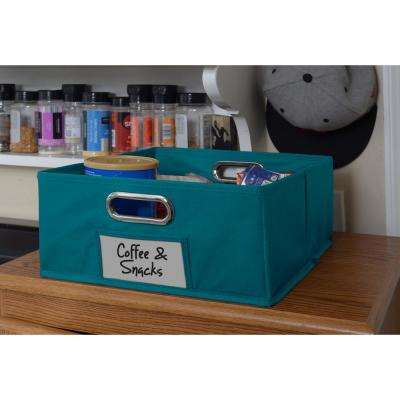 Cubo 12 in. x 6 in. Teal Folding Fabric Bin