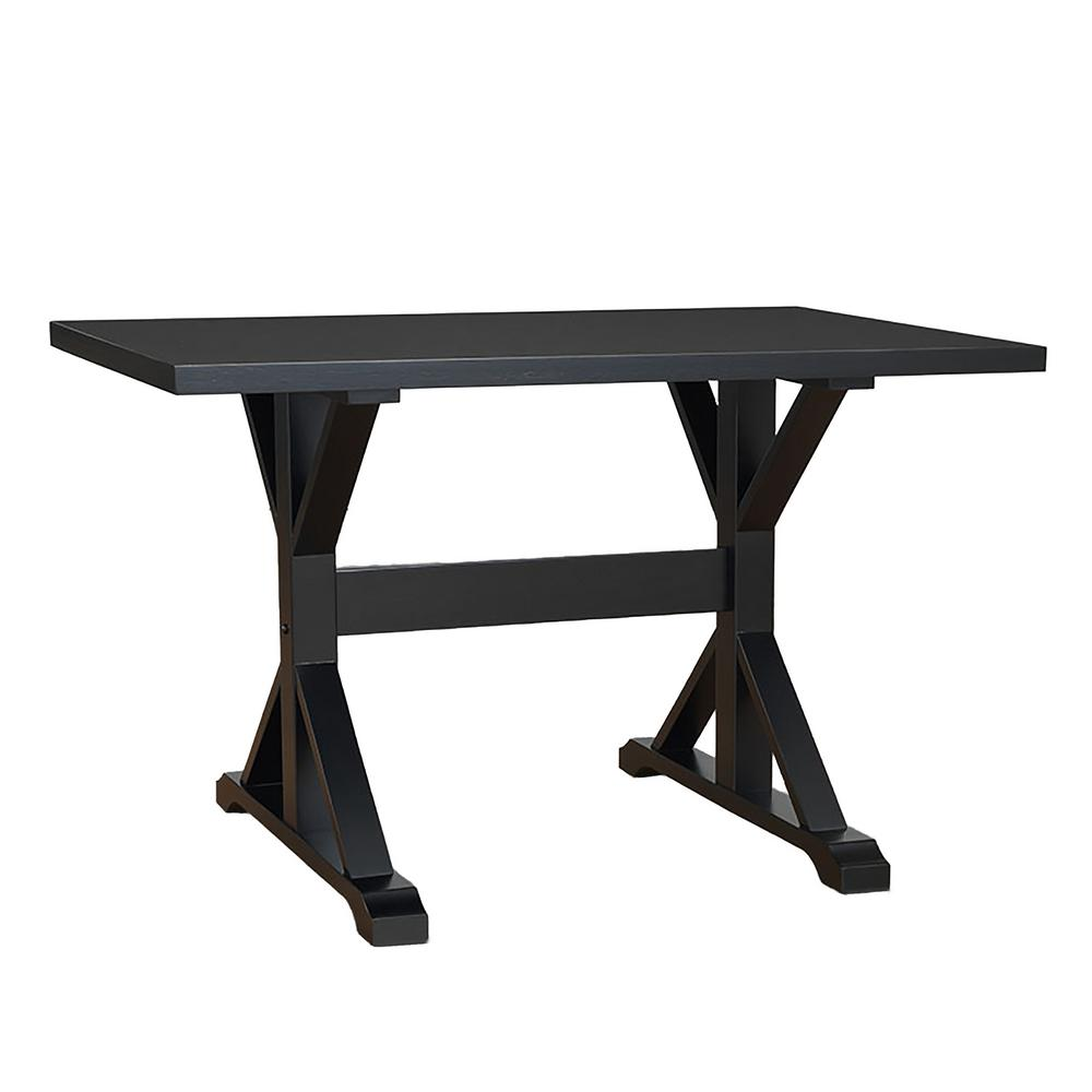 Carolina Cottage Delano Antique Black Writing Trestle Desk - Carolina Cottage Delano Antique Black Writing Trestle Desk-T4830-AB