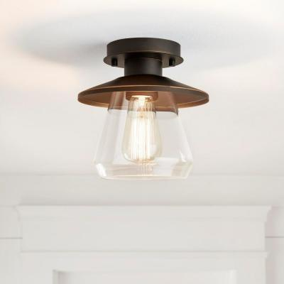 Northmoore 1-Light Oil Rubbed Bronze and Glass Vintage Semi-Flush Mount
