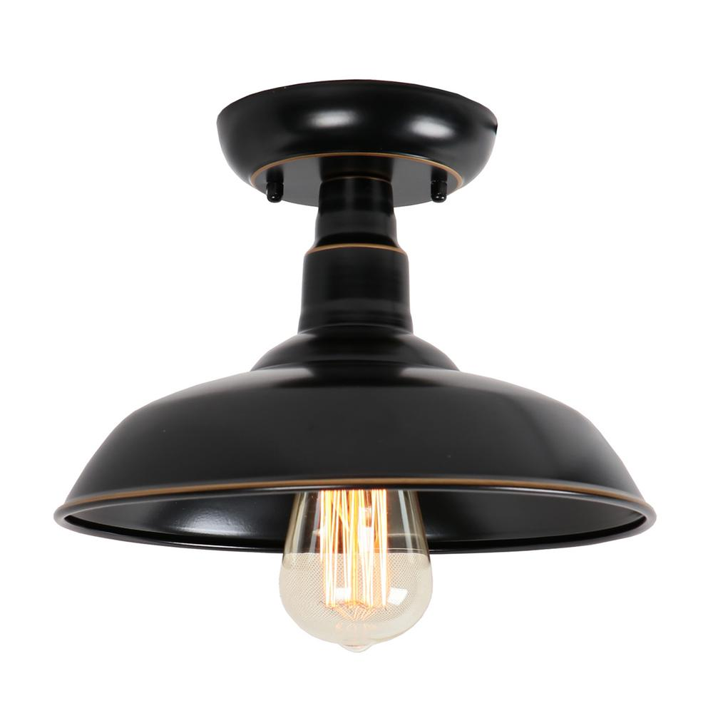 Oil Rubbed Bronze 1 Light Outdoor Ceiling Mounted Flush Mount Lighting