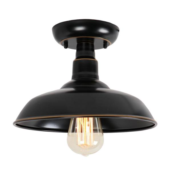 Oil Rubbed Bronze 1-Light Outdoor Ceiling Mounted Flush Mount Lighting