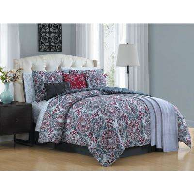 Emeline 12-Piece Berry King Comforter Set with Throw