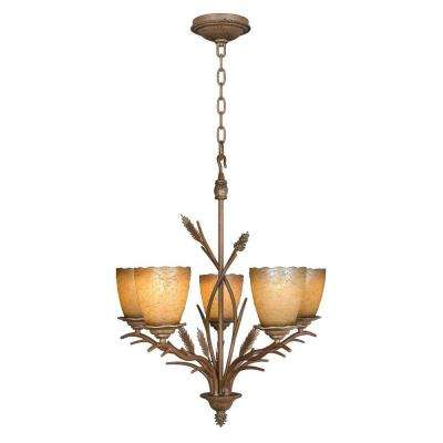 Lodge 5-Light Weathered Spruce Chandelier with Sunset Glass Shades