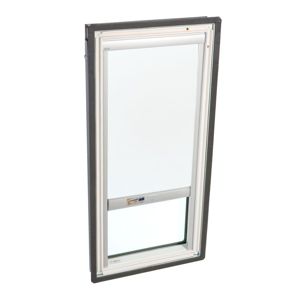 VELUX 21 in. x 45-3/4 in. Fixed Deck-Mounted Skylight with Tempered LowE3 Glass and White Solar Powered Blackout Blind