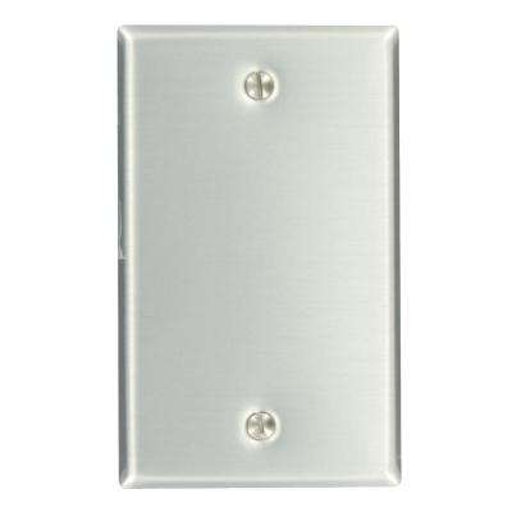 1-Gang No Device Blank Wallplate, Standard Size, Aluminum, Box Mount, Aluminum