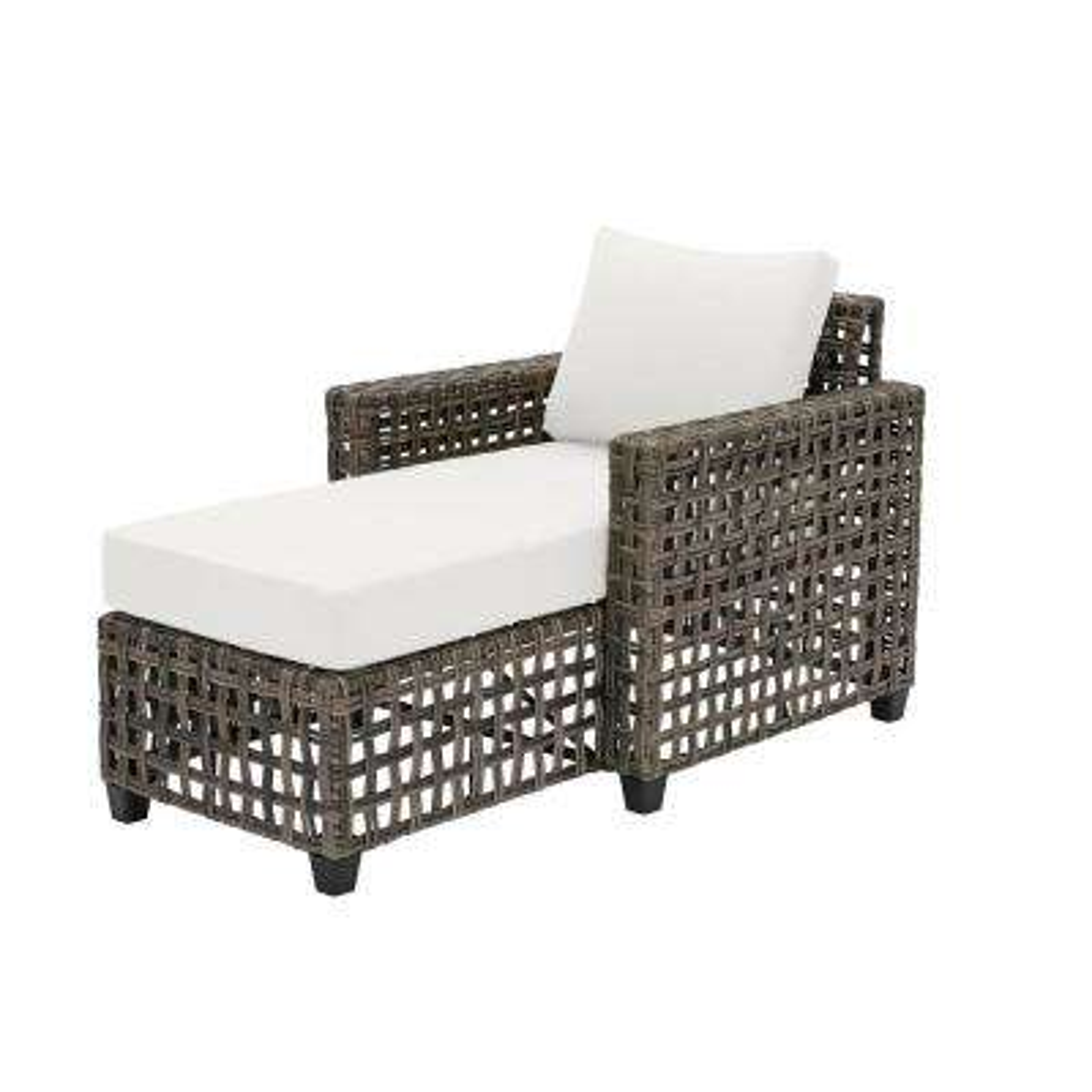 Briar Ridge Brown Wicker Outdoor Patio Chaise Lounge with CushionGuard Chalk White Cushions